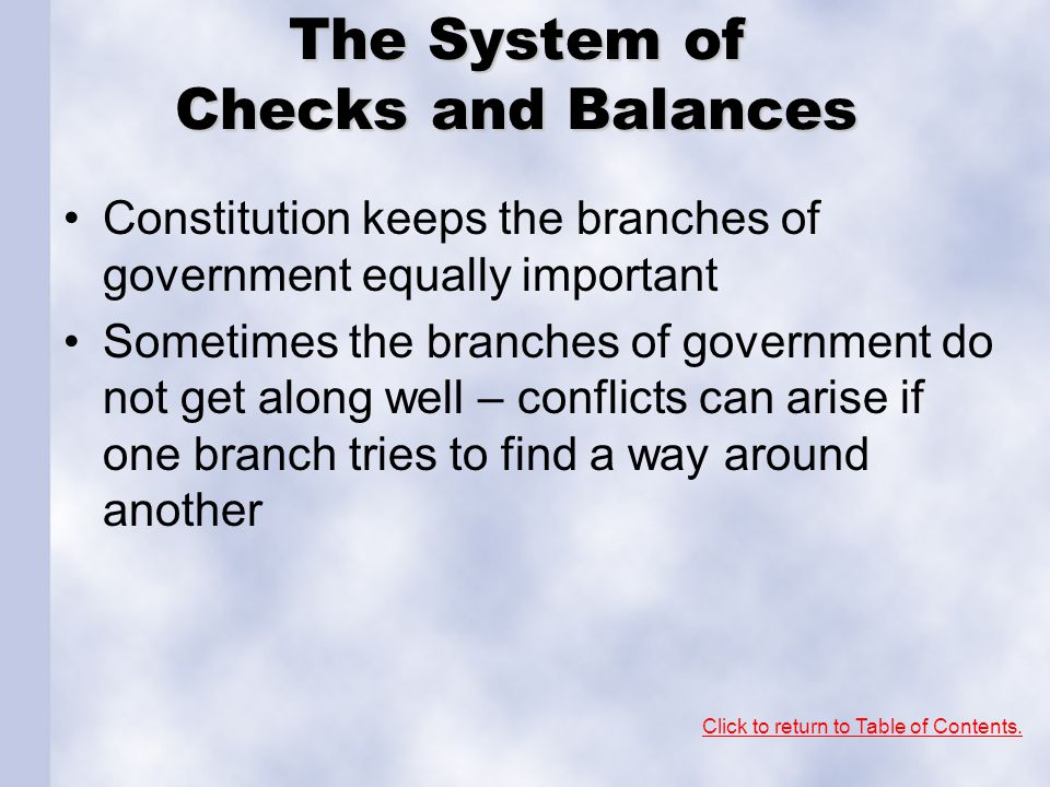 The System of Checks and Balances
