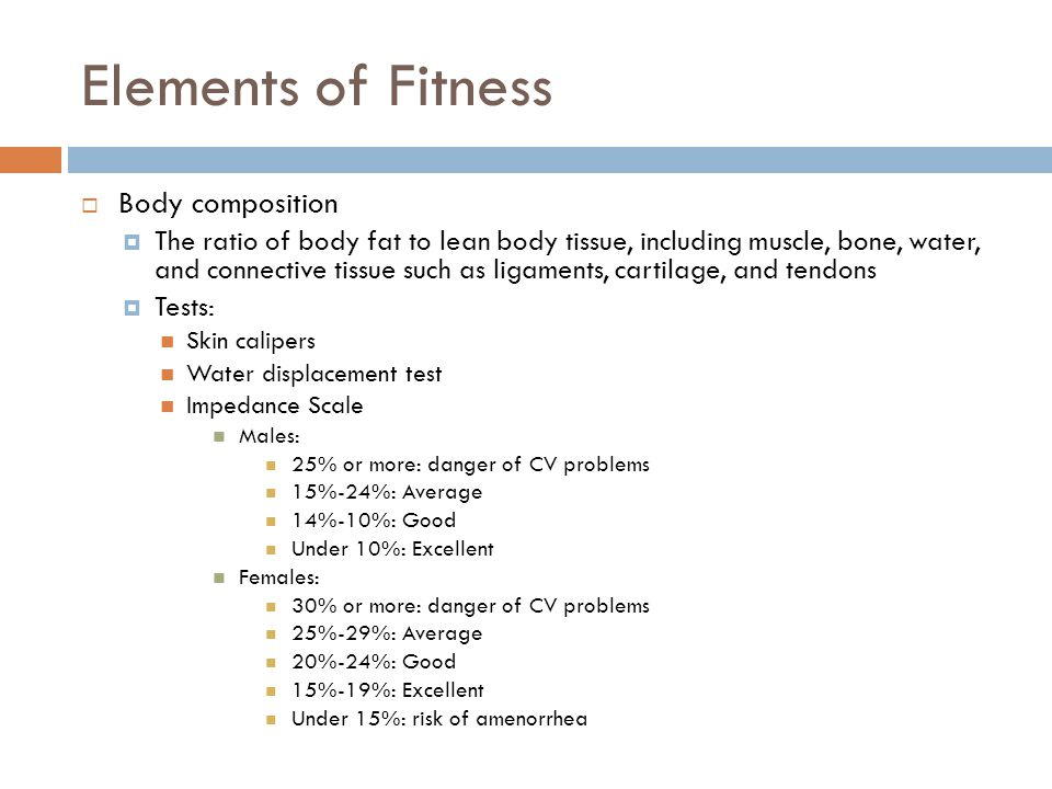 Elements of Fitness Body composition