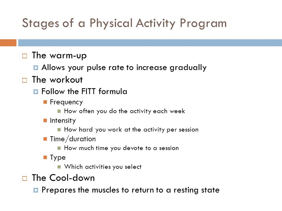 Stages of a Physical Activity Program