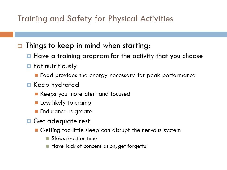 Training and Safety for Physical Activities