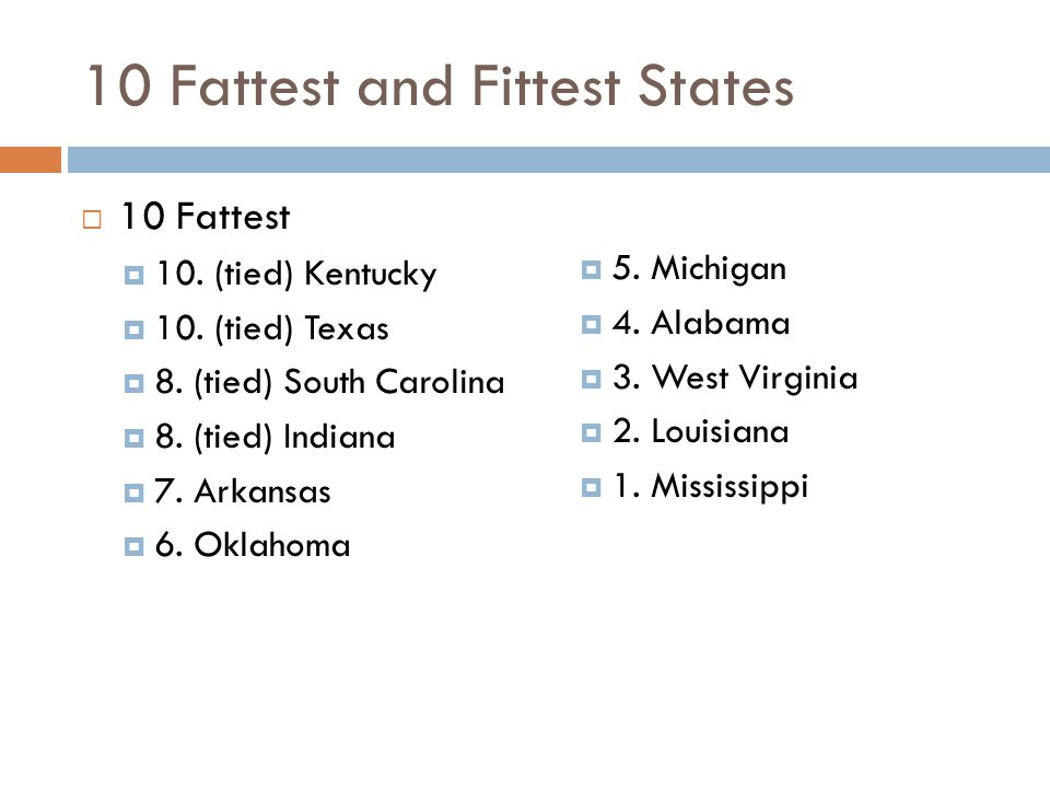 10 Fattest and Fittest States