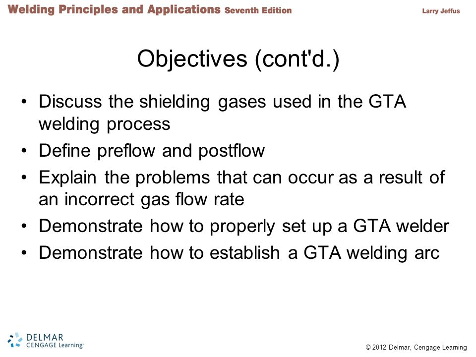 Objectives (cont d.) Discuss the shielding gases used in the GTA welding process. Define preflow and postflow.