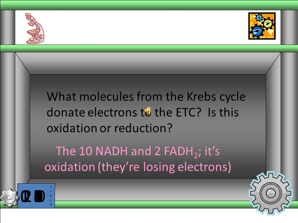 The 10 NADH and 2 FADH2; it's oxidation (they're losing electrons)