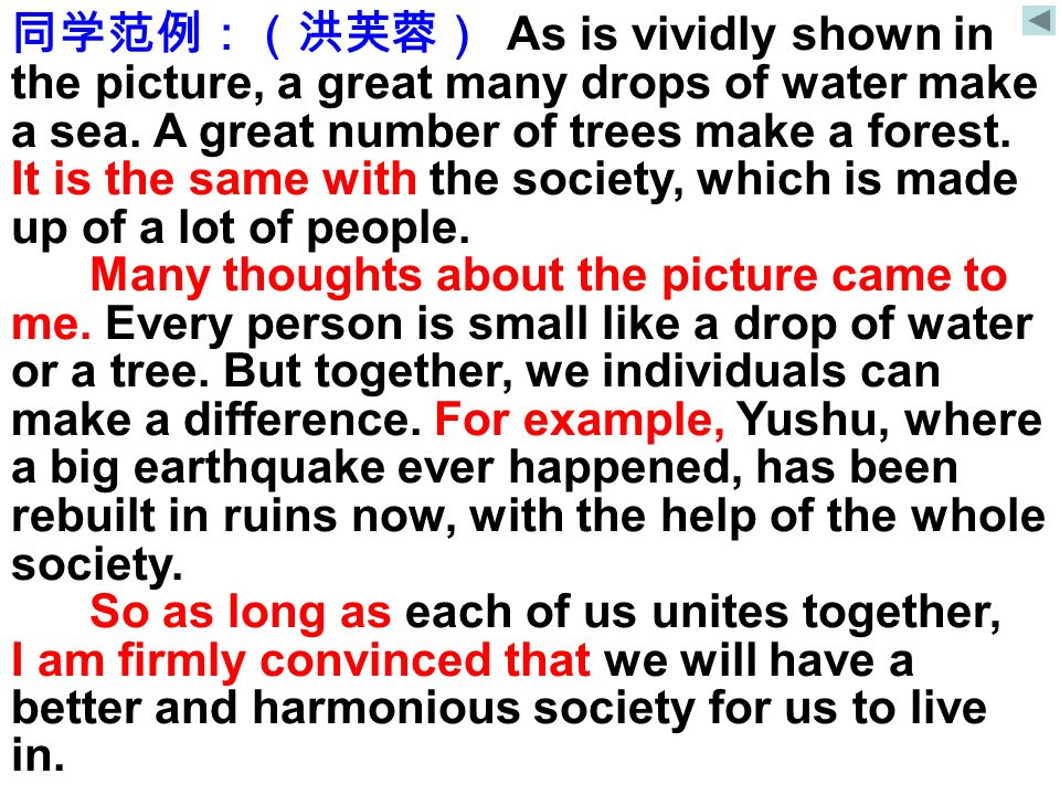 同学范例:(洪芙蓉) As is vividly shown in the picture, a great many drops of water make a sea. A great number of trees make a forest. It is the same with the society, which is made up of a lot of people.