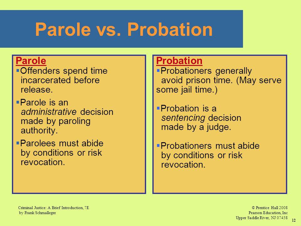 Parole vs. Probation Parole Probation Offenders spend time