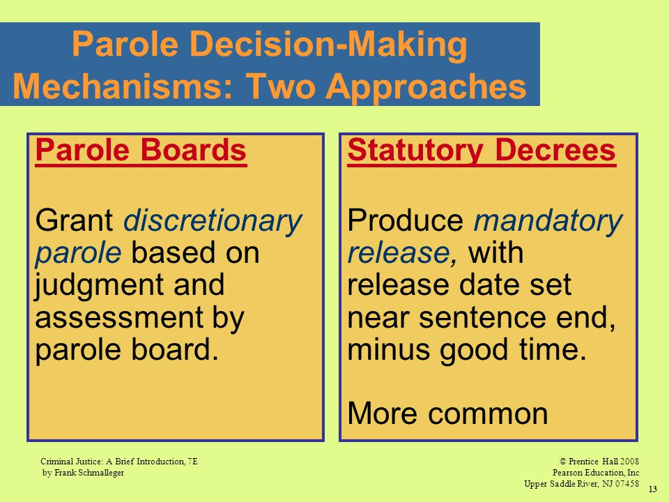 Parole Decision-Making Mechanisms: Two Approaches