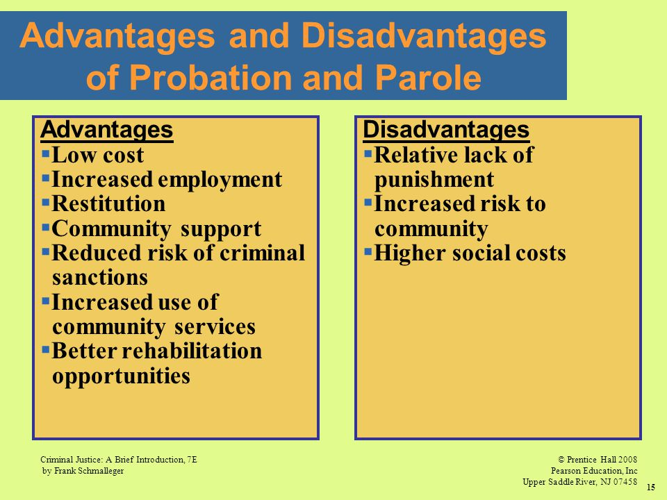 Advantages and Disadvantages of Probation and Parole
