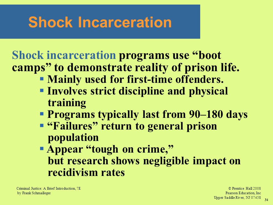 Shock Incarceration Shock incarceration programs use boot