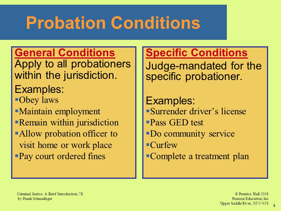 Probation Conditions General Conditions