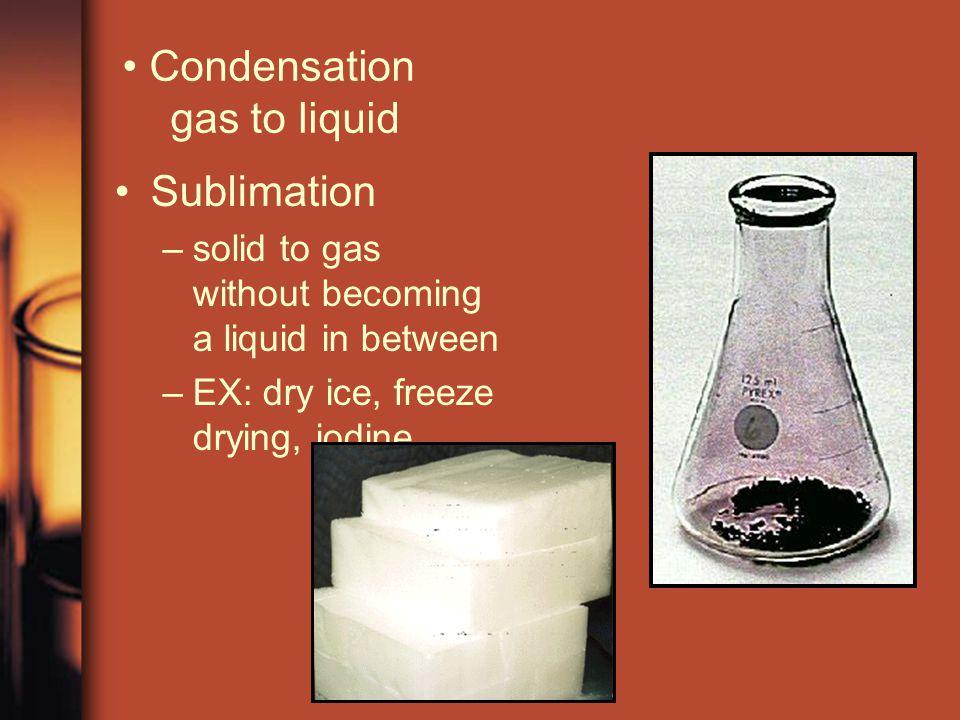 Condensation gas to liquid Sublimation