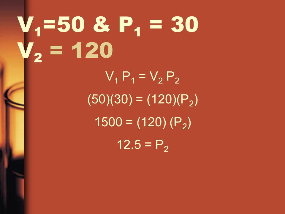 V1=50 & P1 = 30 V2 = 120 V1 P1 = V2 P2 (50)(30) = (120)(P2)
