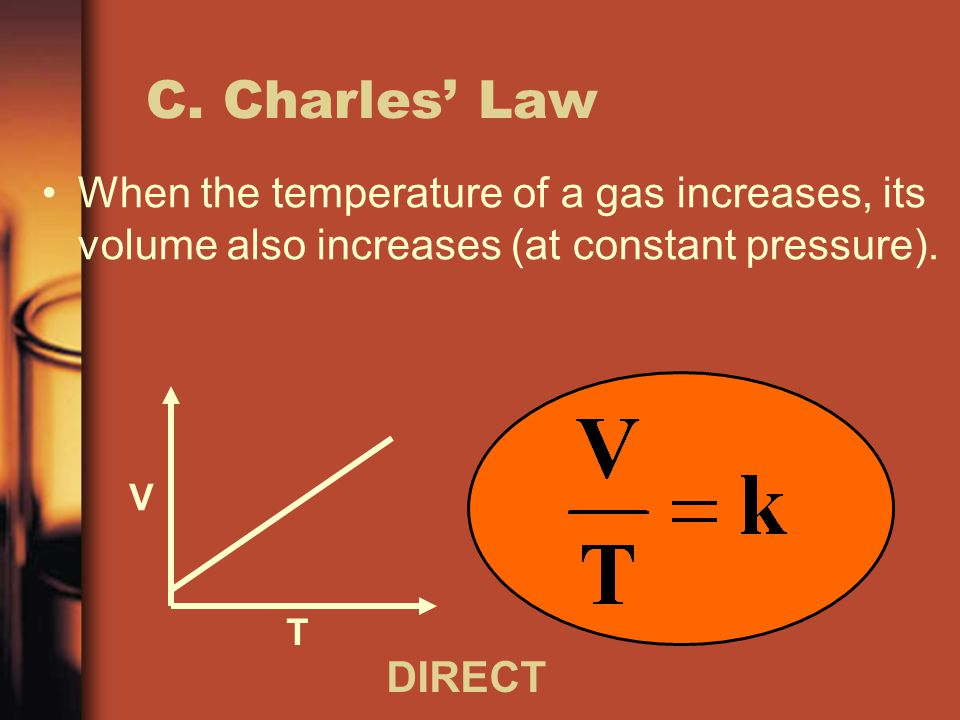 C. Charles' Law When the temperature of a gas increases, its volume also increases (at constant pressure).