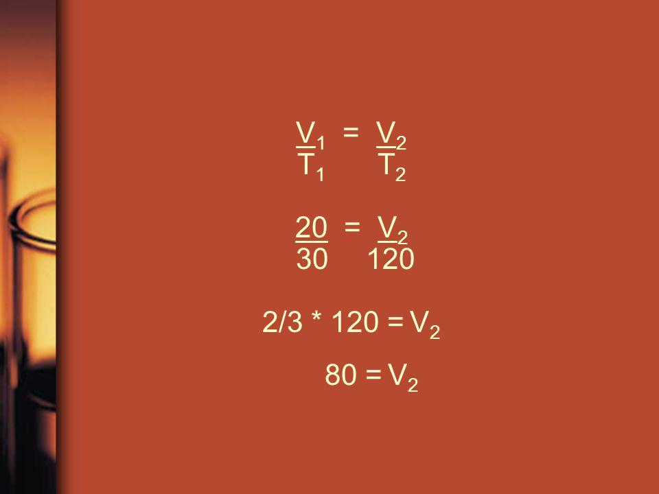 V1 = V2 T1 T2 20 = V2 30 120 2/3 * 120 = V2 80 = V2