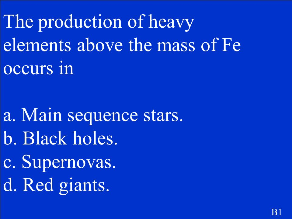 The production of heavy elements above the mass of Fe occurs in