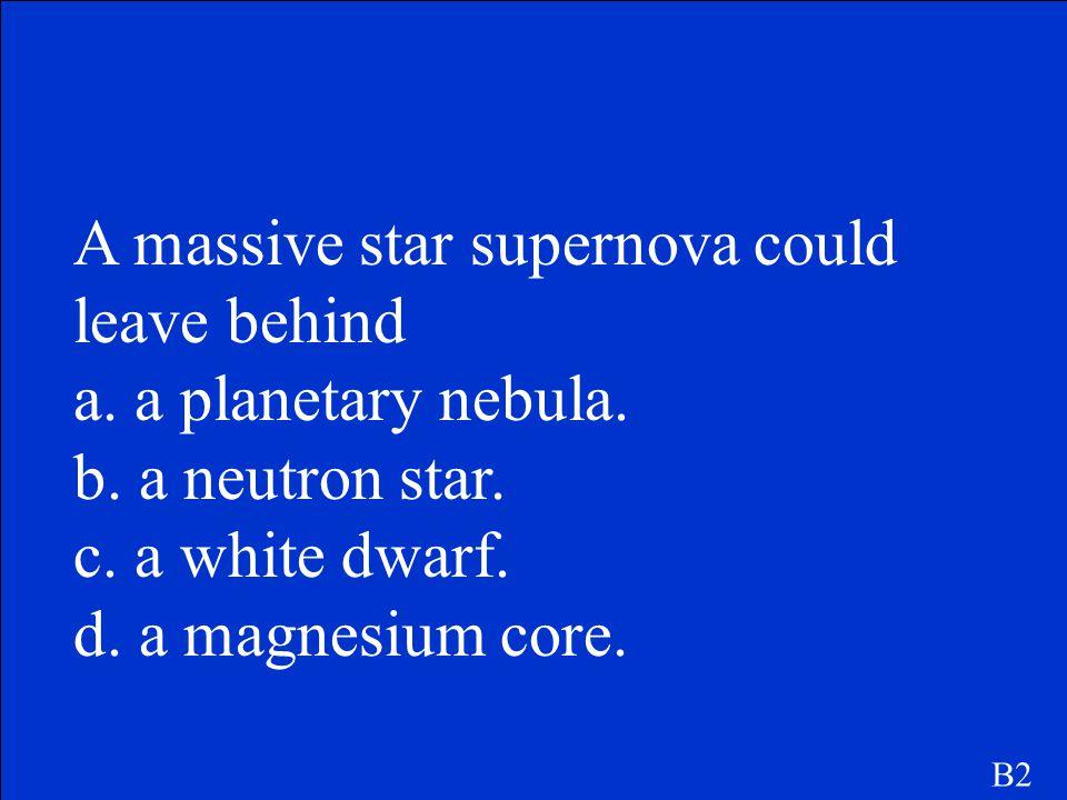 A massive star supernova could leave behind a. a planetary nebula.