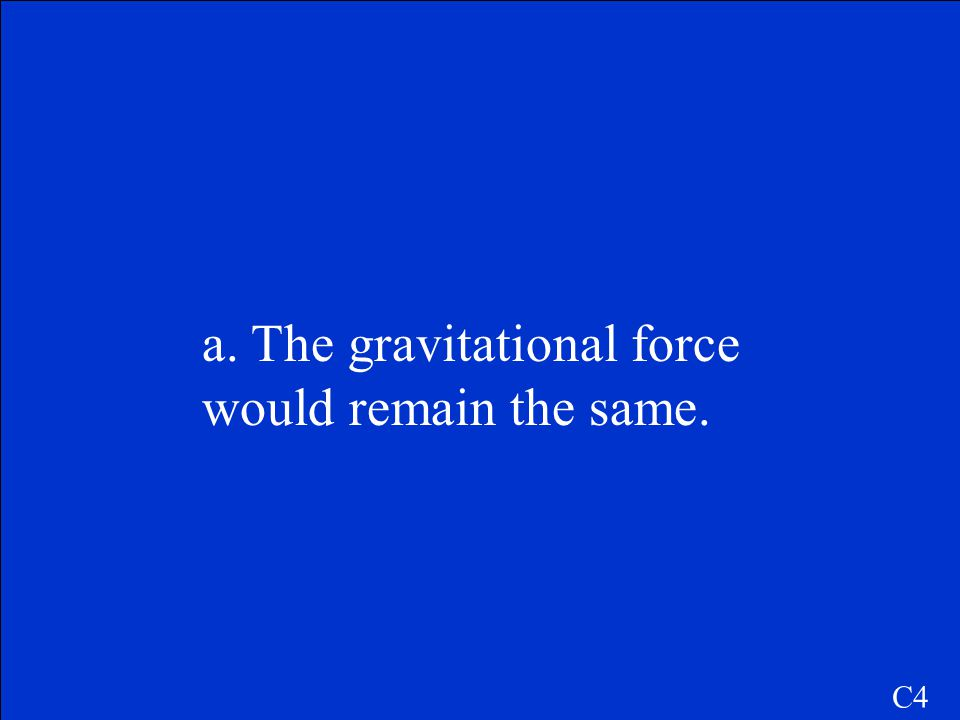 a. The gravitational force would remain the same.
