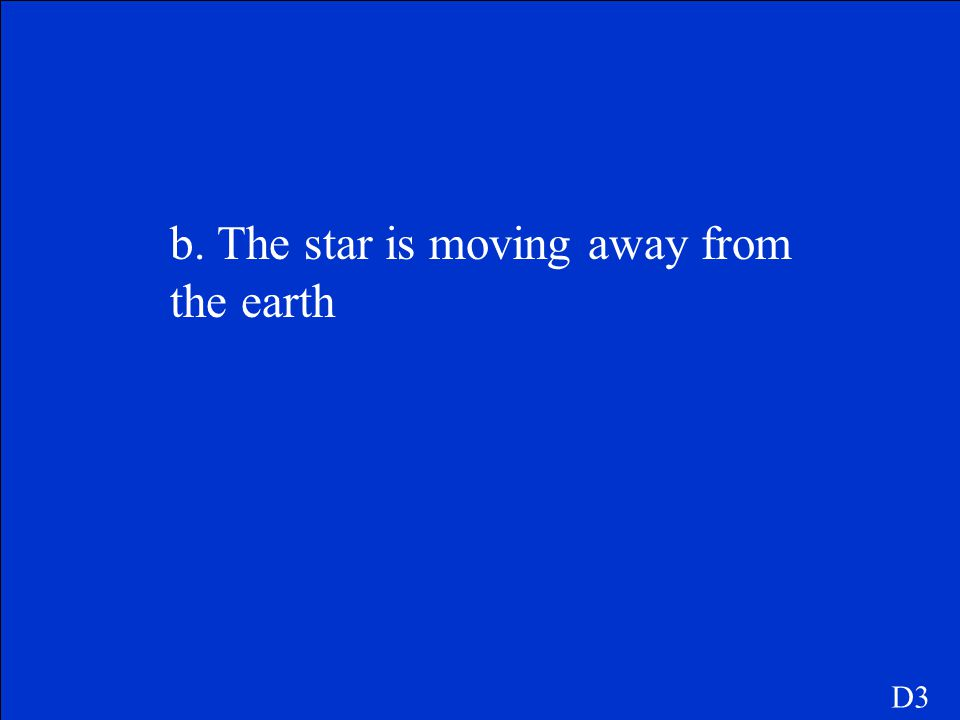 b. The star is moving away from the earth