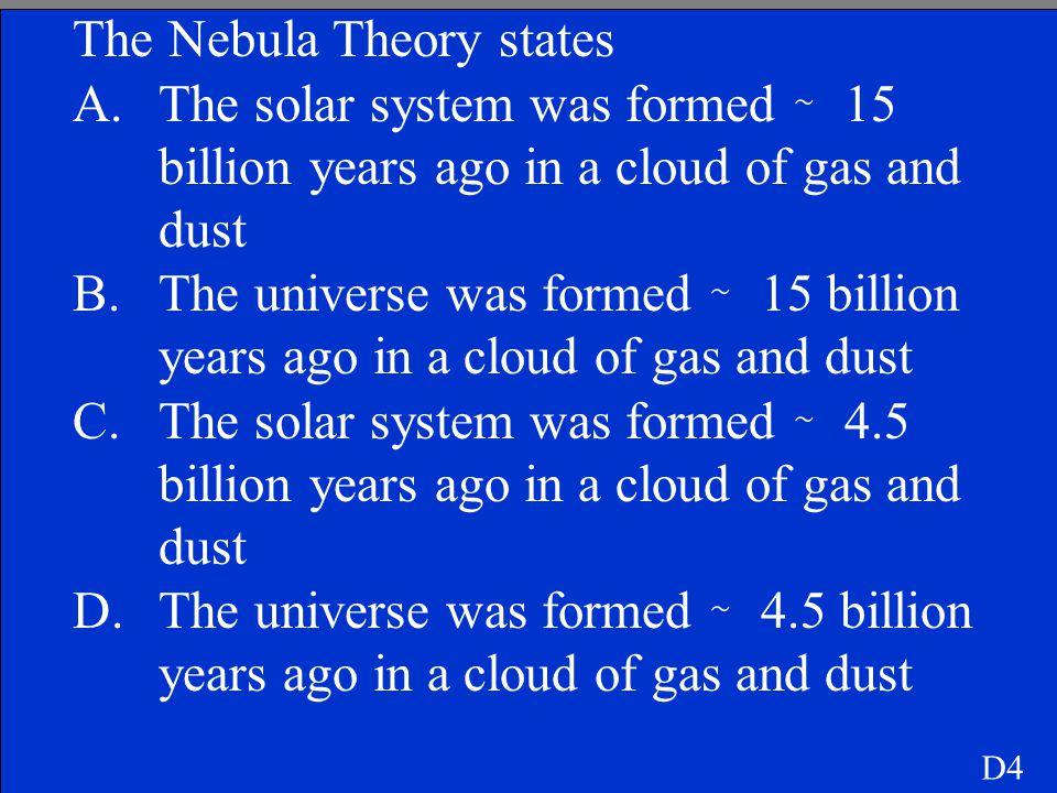 The Nebula Theory states