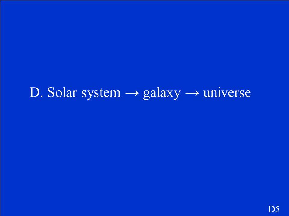 D. Solar system → galaxy → universe