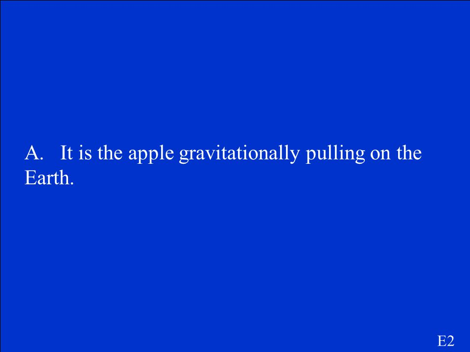 A. It is the apple gravitationally pulling on the Earth.