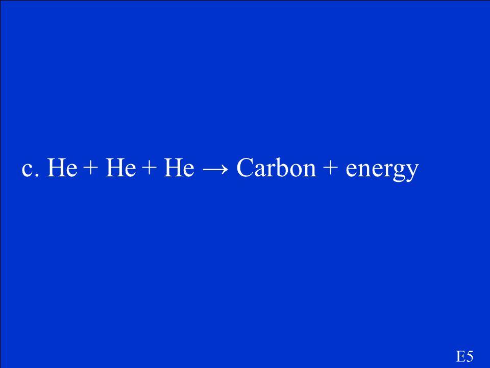 c. He + He + He → Carbon + energy