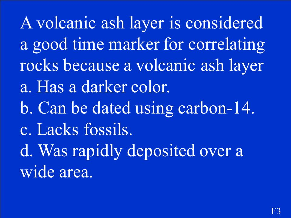 b. Can be dated using carbon-14. c. Lacks fossils.