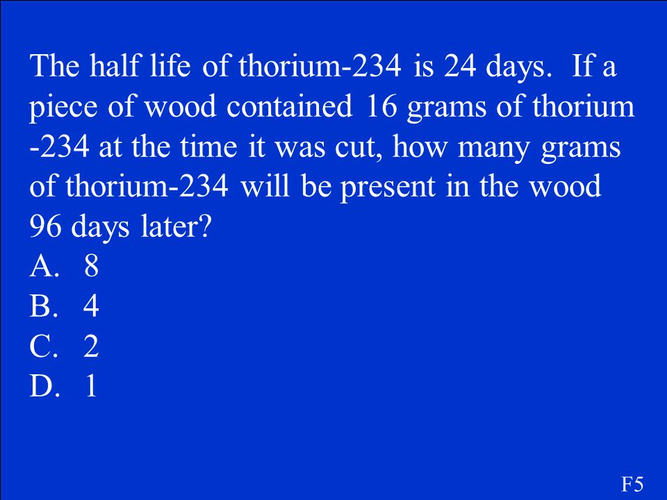 The half life of thorium-234 is 24 days