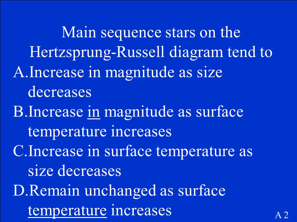 Main sequence stars on the Hertzsprung-Russell diagram tend to