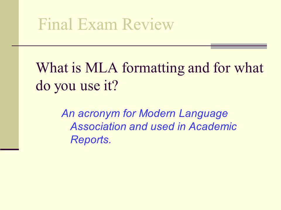 What is MLA formatting and for what do you use it