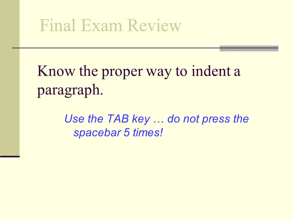 Know the proper way to indent a paragraph.