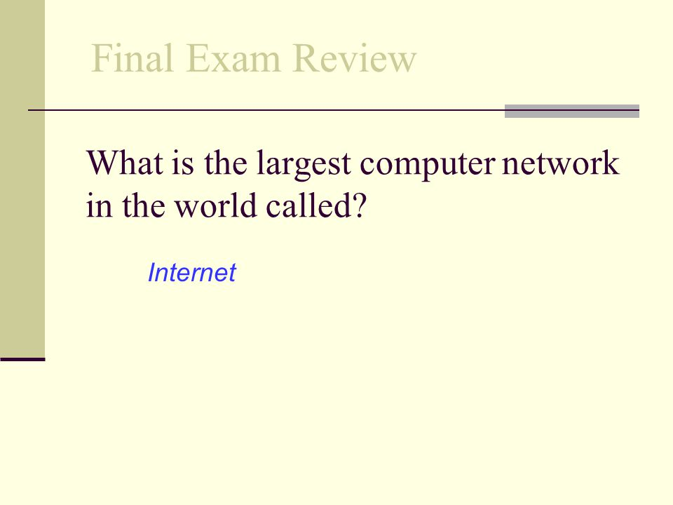 What is the largest computer network in the world called