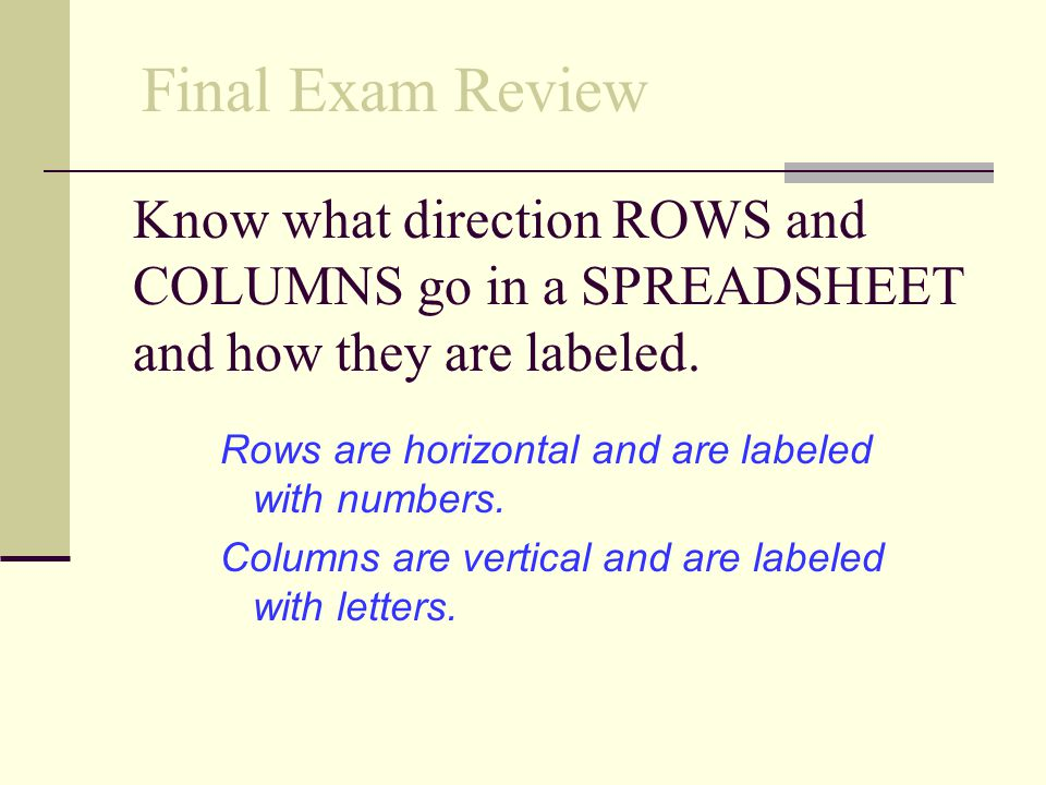 Final Exam Review Know what direction ROWS and COLUMNS go in a SPREADSHEET and how they are labeled.