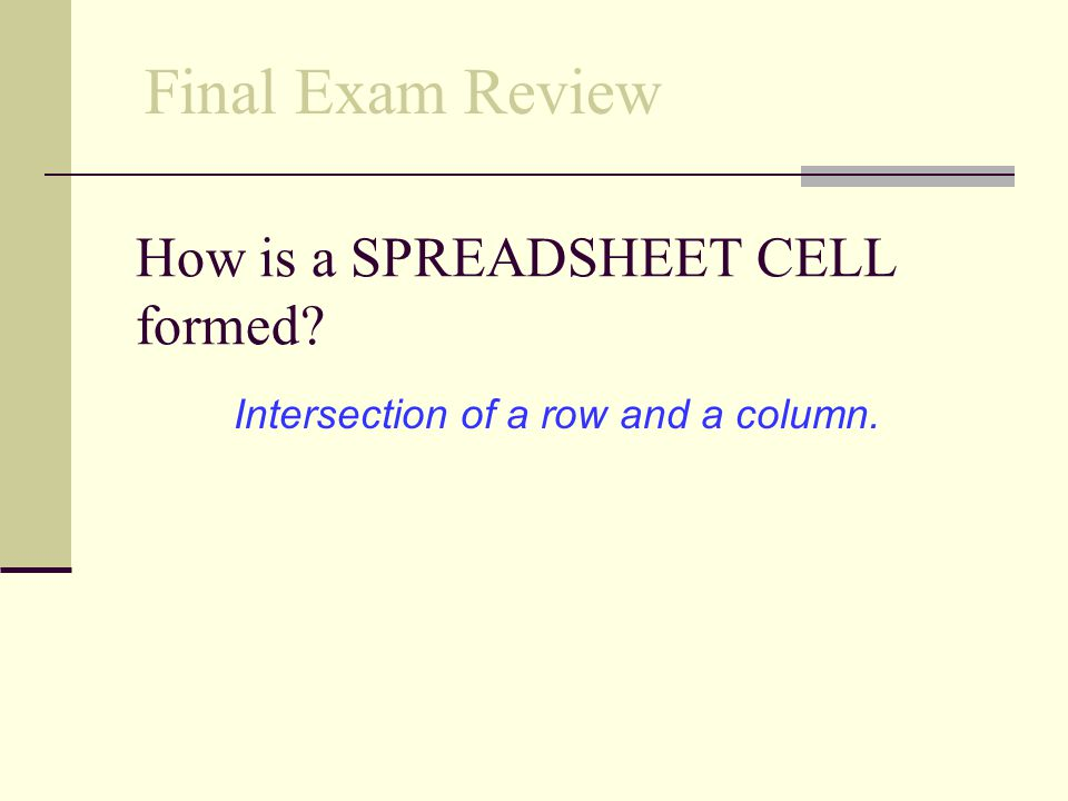 How is a SPREADSHEET CELL formed