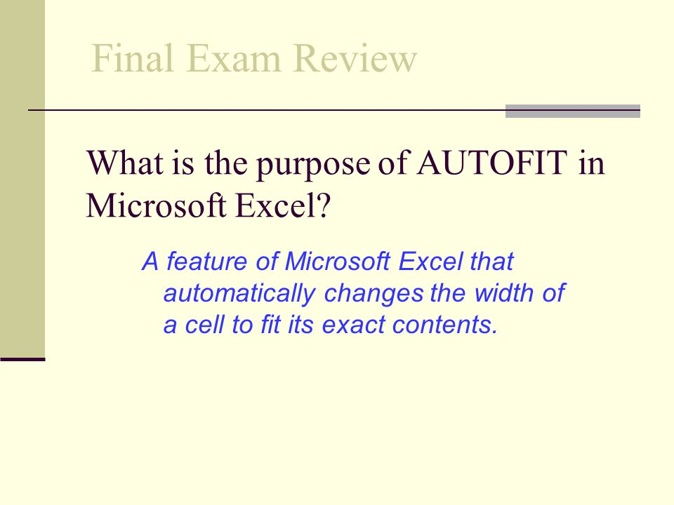 What is the purpose of AUTOFIT in Microsoft Excel