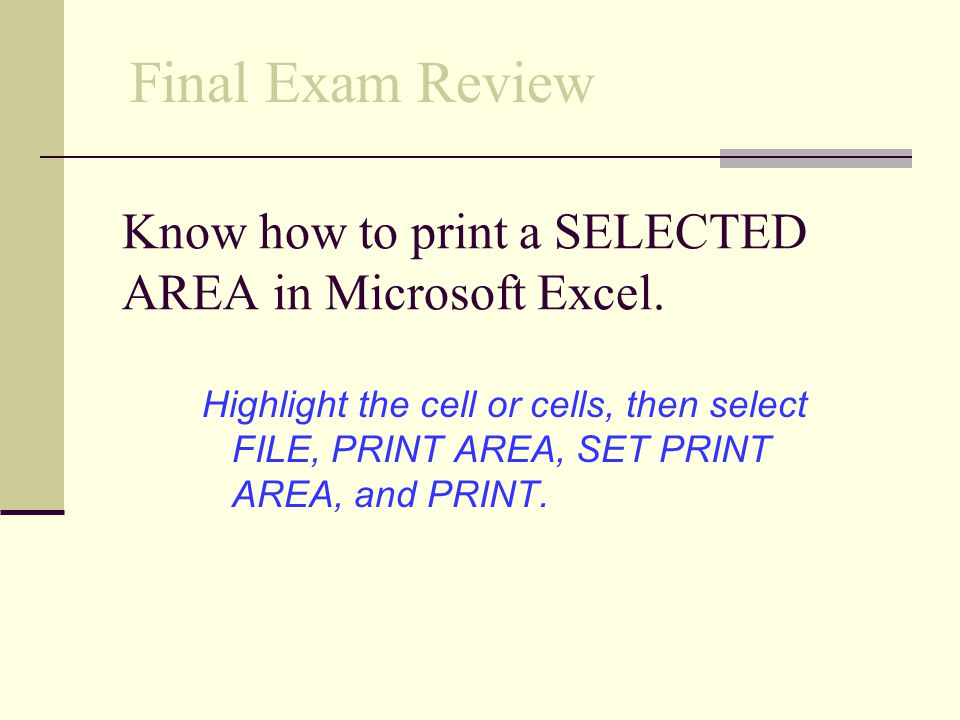 Know how to print a SELECTED AREA in Microsoft Excel.
