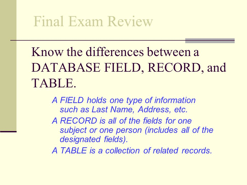 Know the differences between a DATABASE FIELD, RECORD, and TABLE.