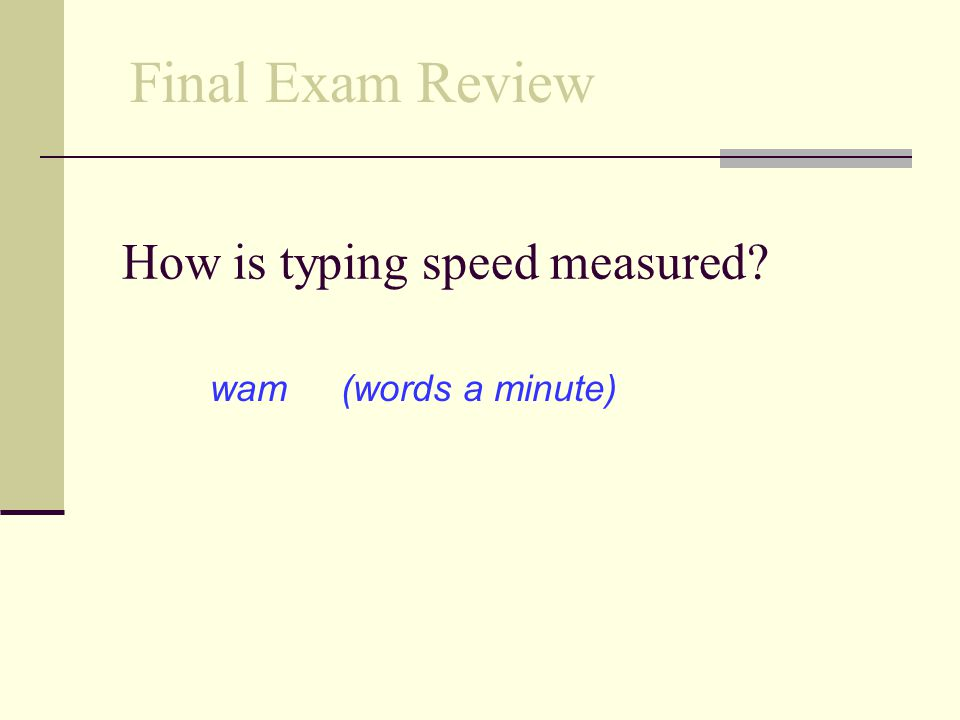 How is typing speed measured