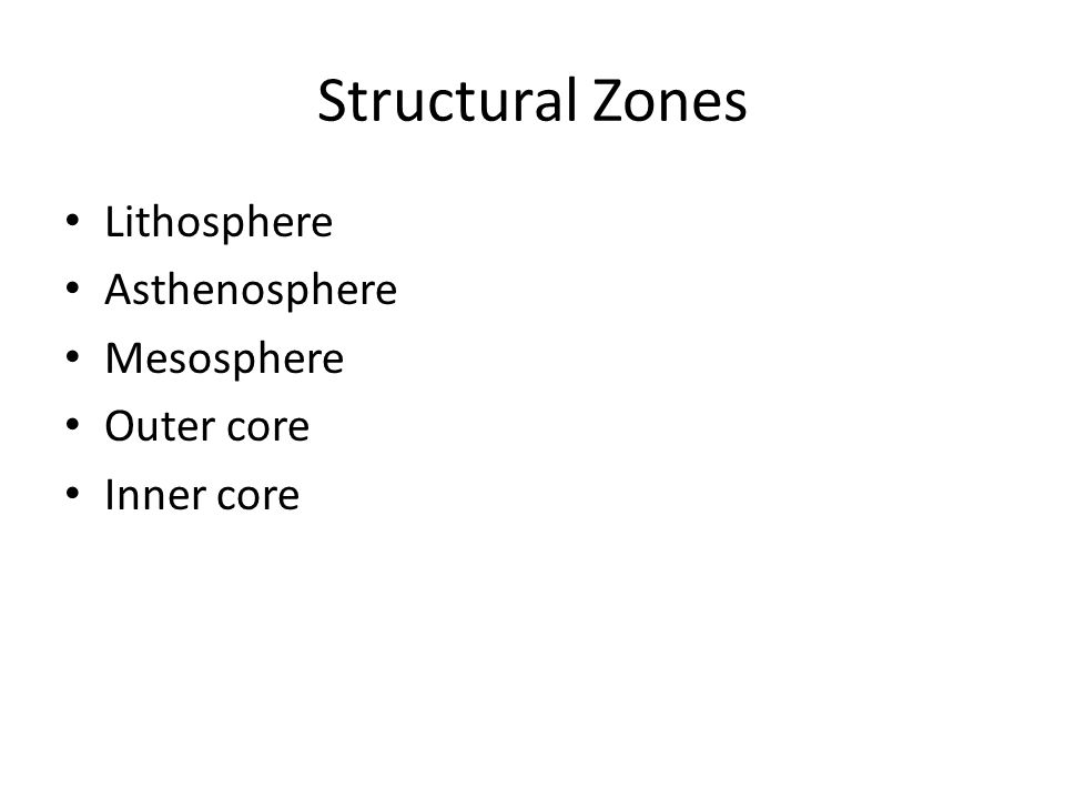 Structural Zones Lithosphere Asthenosphere Mesosphere Outer core