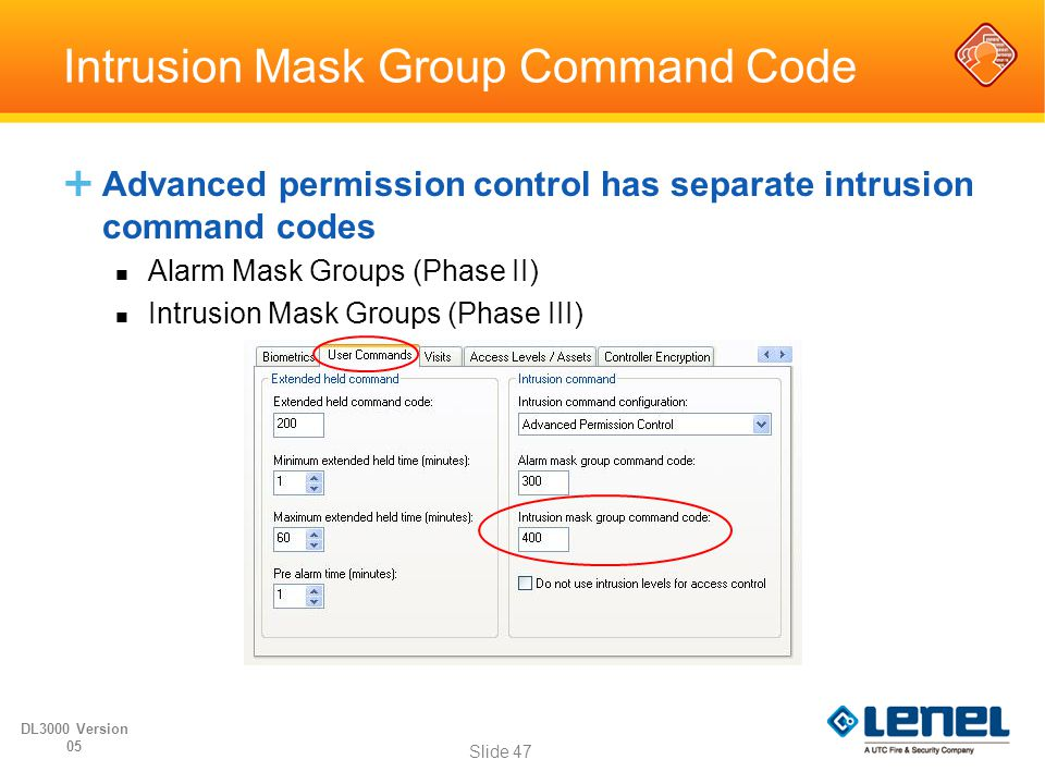 Intrusion Mask Group Command Code