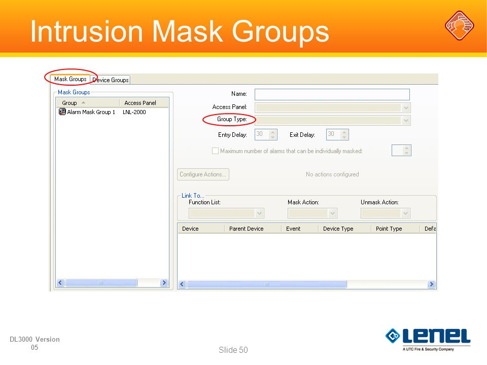 Intrusion Mask Groups DL3000 Version 05