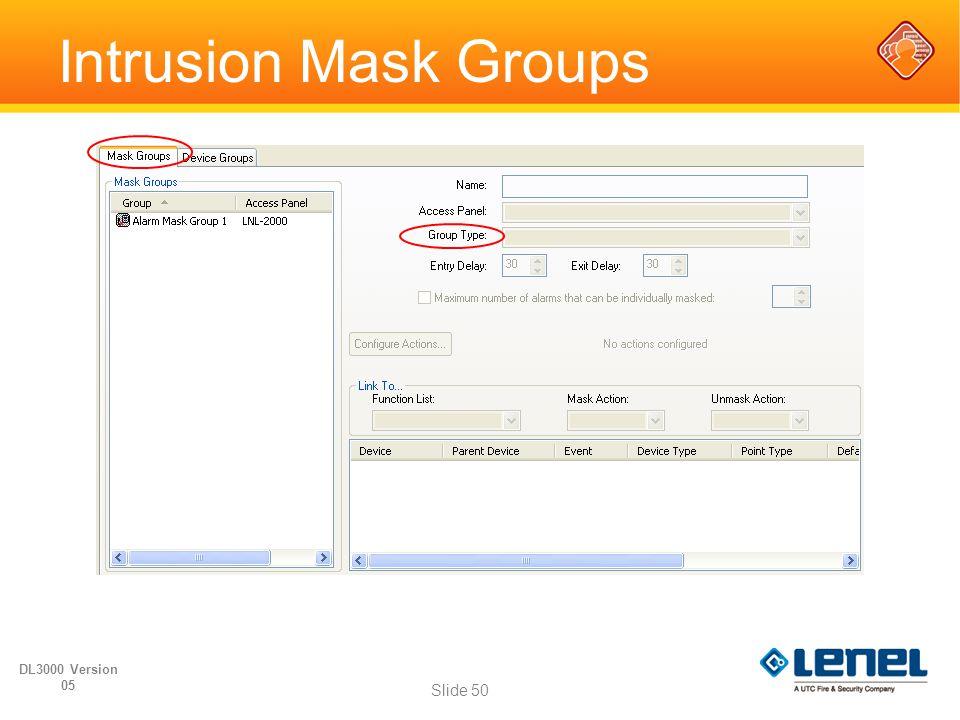Intrusion Mask Groups DL3000 Version 05