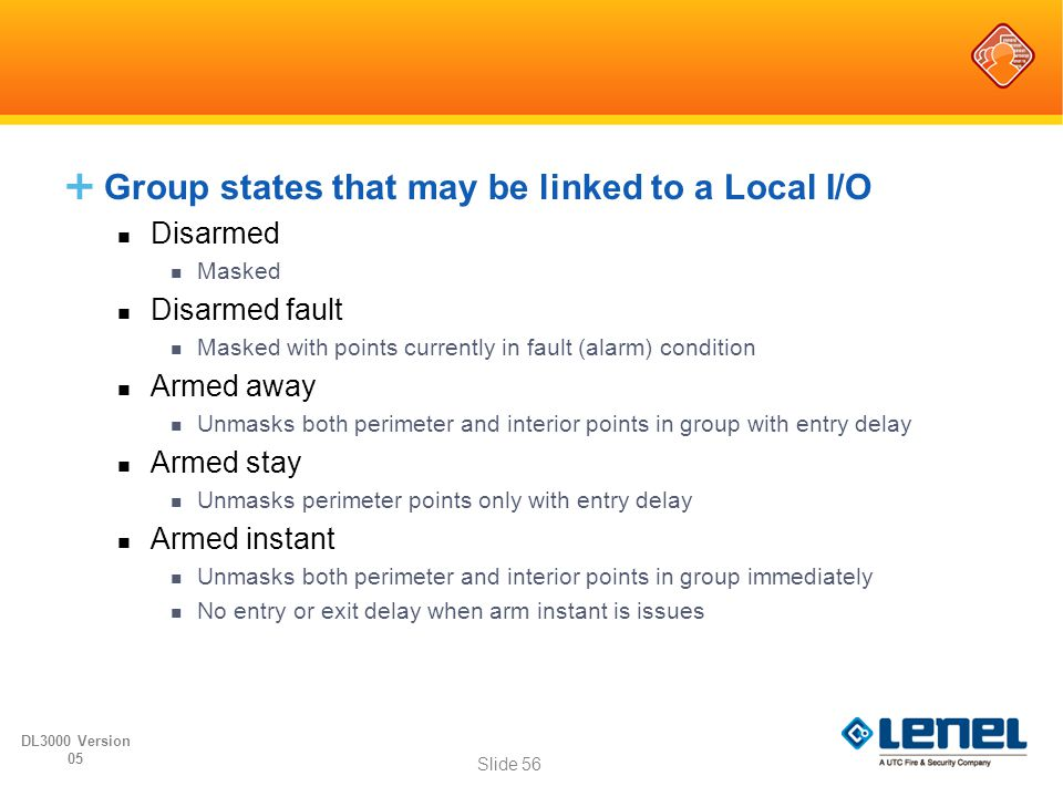 Group states that may be linked to a Local I/O