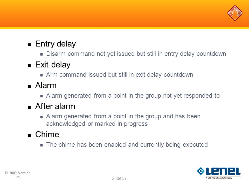 Entry delay Exit delay Alarm After alarm Chime
