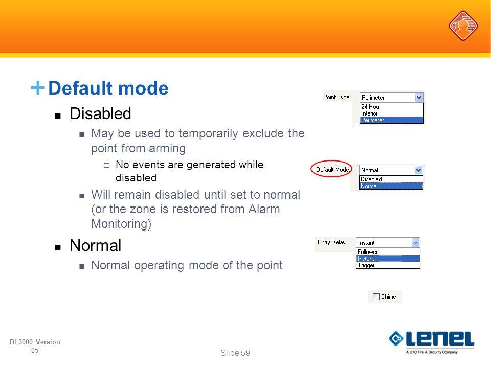 Default mode Disabled Normal