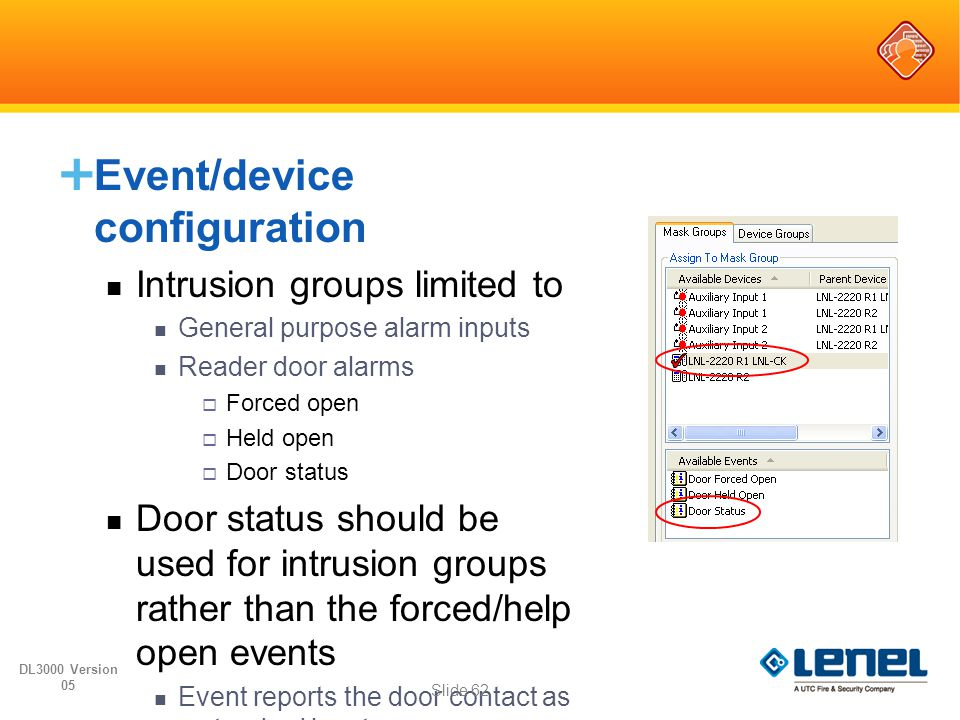 Event/device configuration