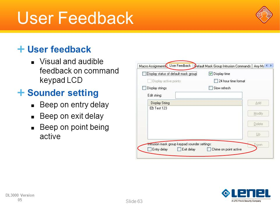 User Feedback User feedback Sounder setting