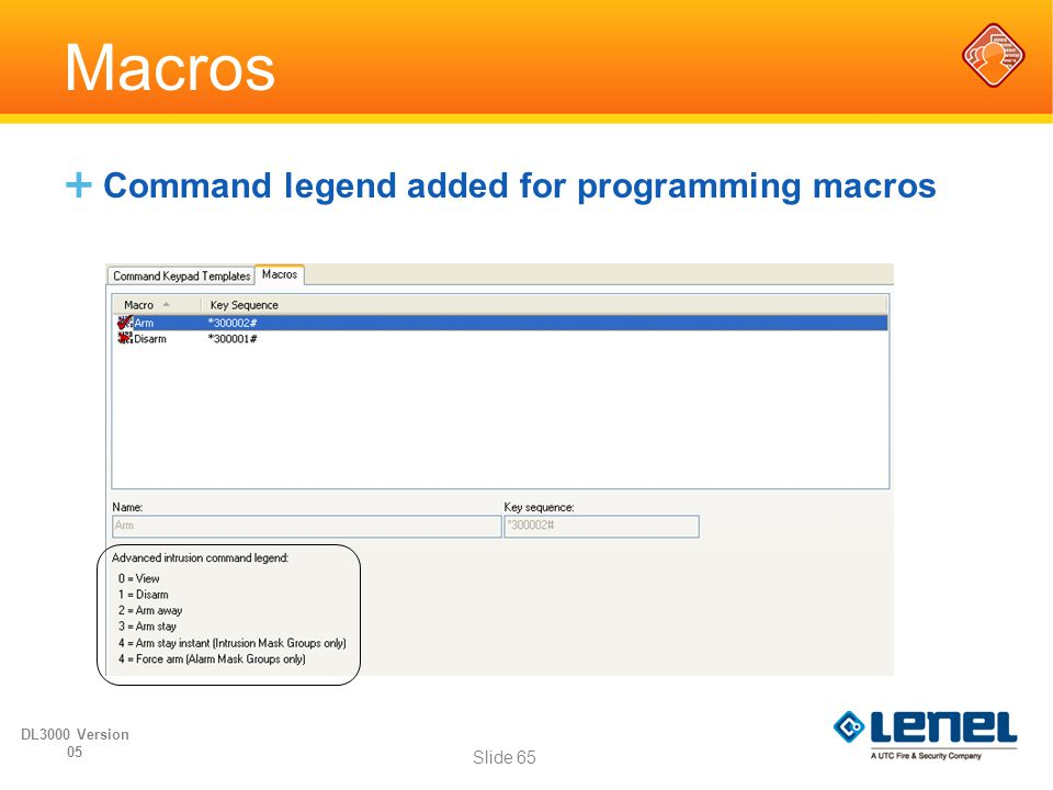 Macros Command legend added for programming macros DL3000 Version 05