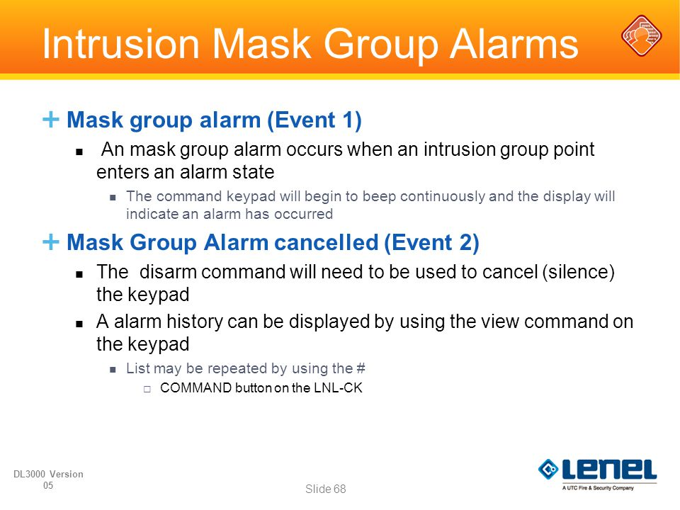 Intrusion Mask Group Alarms