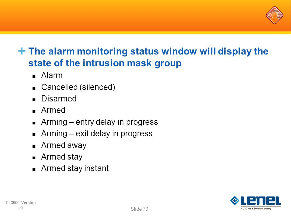 The alarm monitoring status window will display the state of the intrusion mask group
