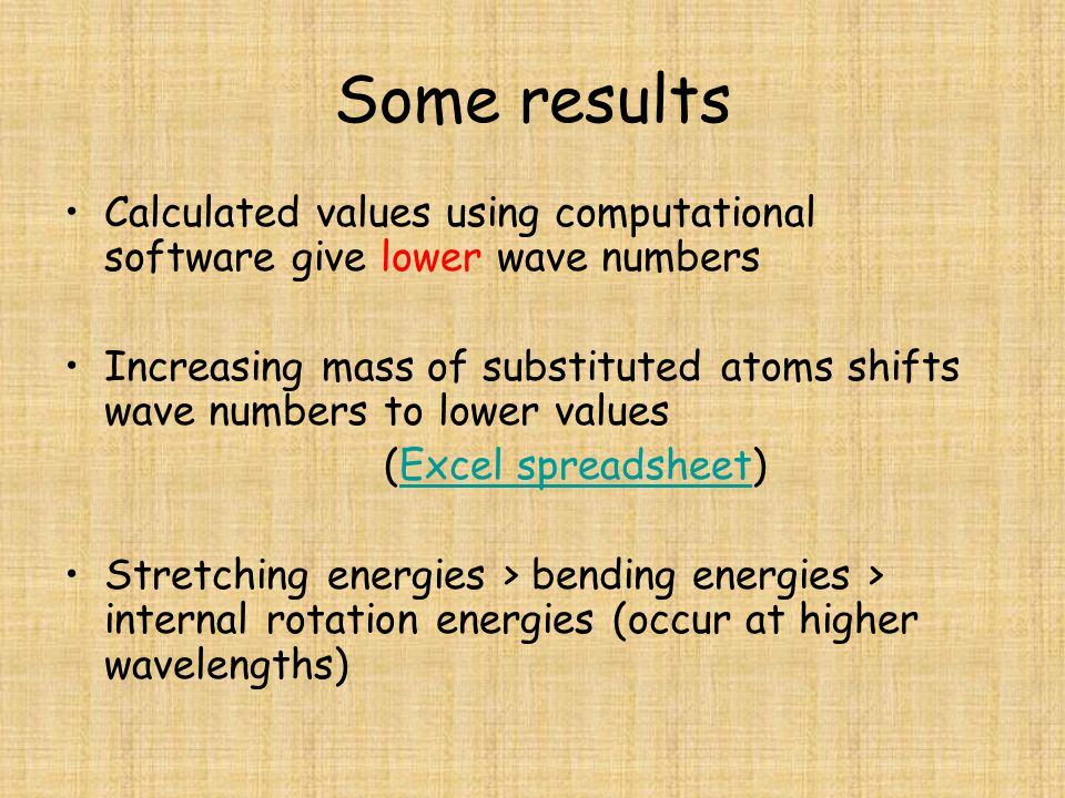 Some results Calculated values using computational software give lower wave numbers.